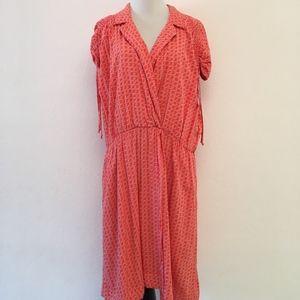 Anthropologie Maeve Orange Print Dress Size XL